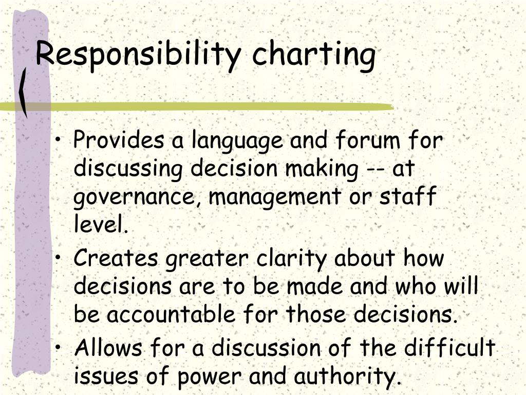 Responsibility charting