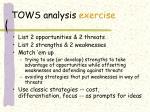 tows analysis exercise