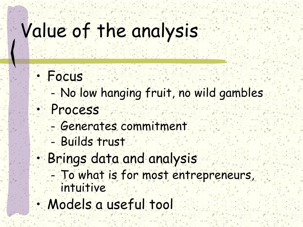 Value of the analysis