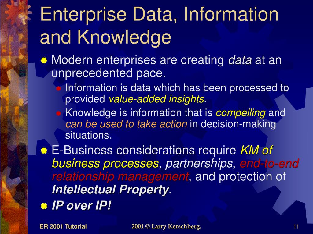 Enterprise Data, Information and Knowledge
