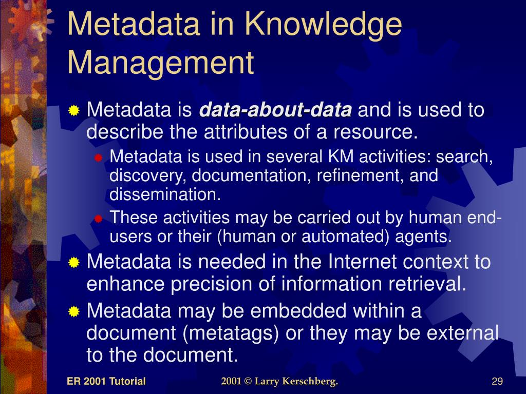 Metadata in Knowledge Management