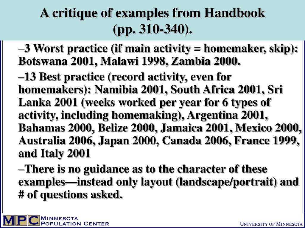 A critique of examples from Handbook