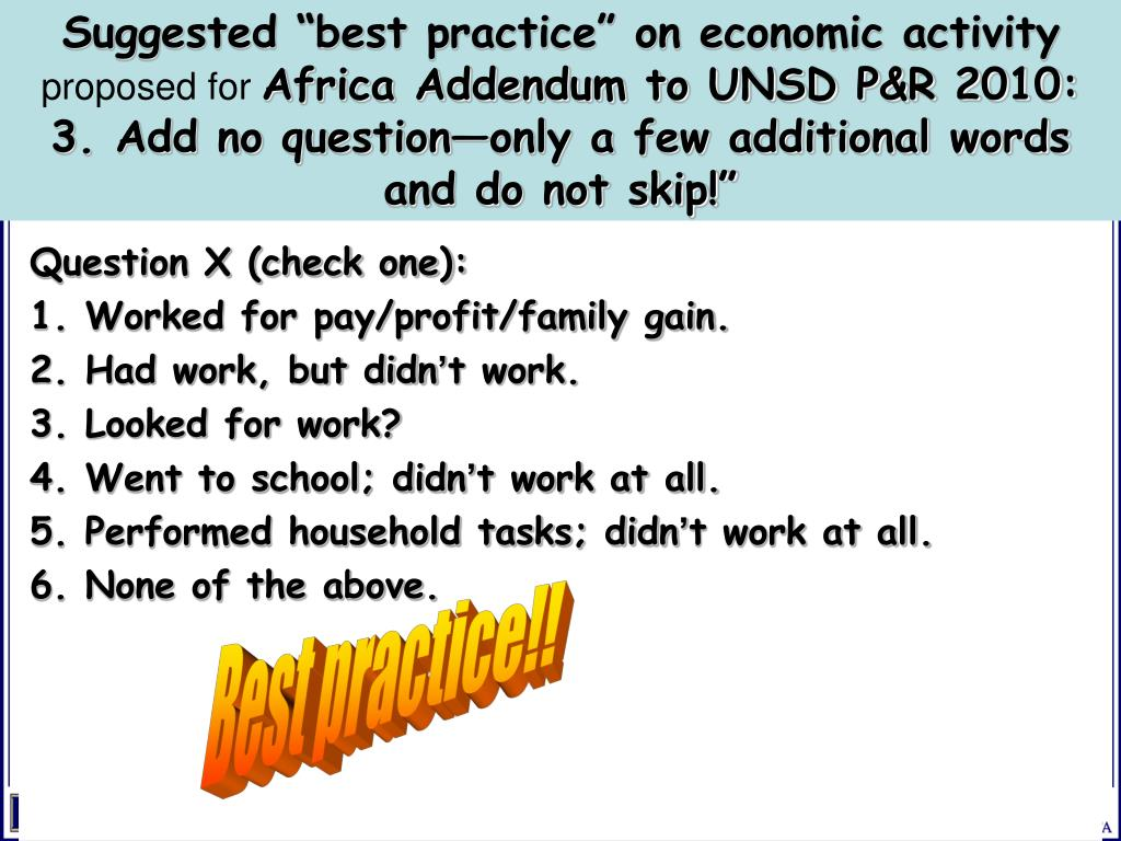 "Suggested ""best practice"" on economic activity"