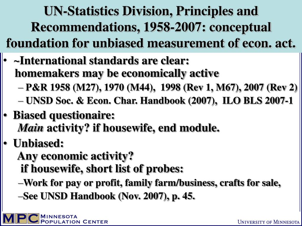 UN-Statistics Division, Principles and Recommendations, 1958-2007: conceptual foundation for unbiased measurement of econ. act.