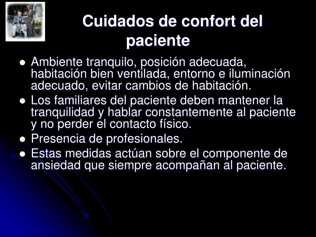 Cuidados de confort del paciente
