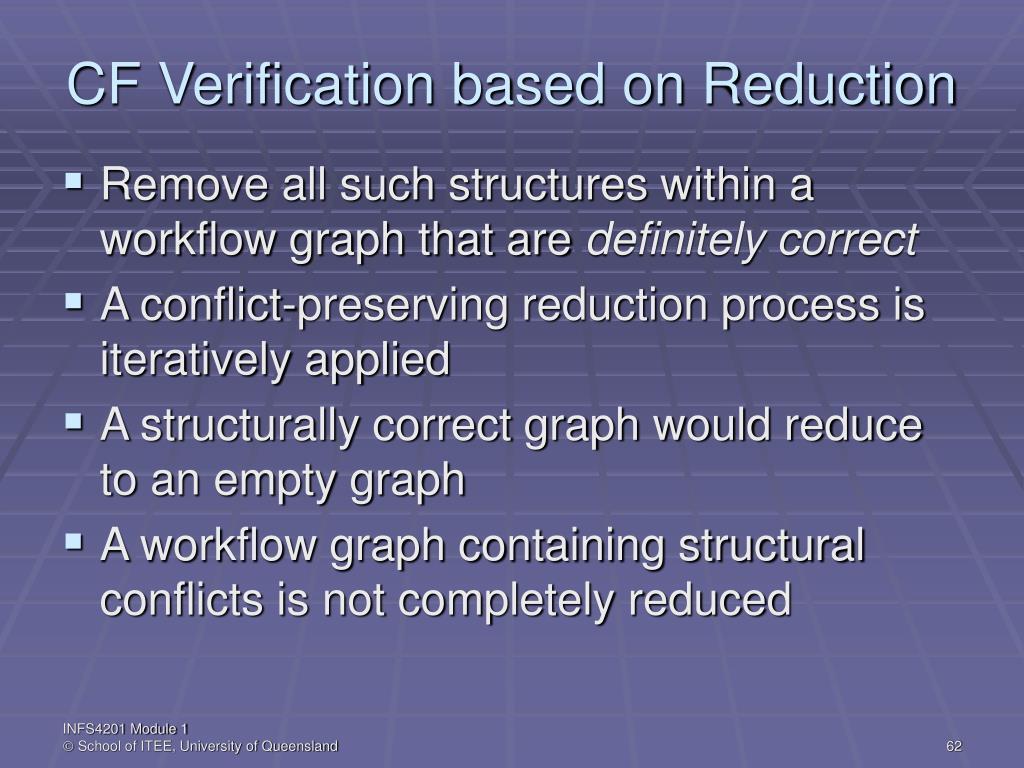 CF Verification based on Reduction