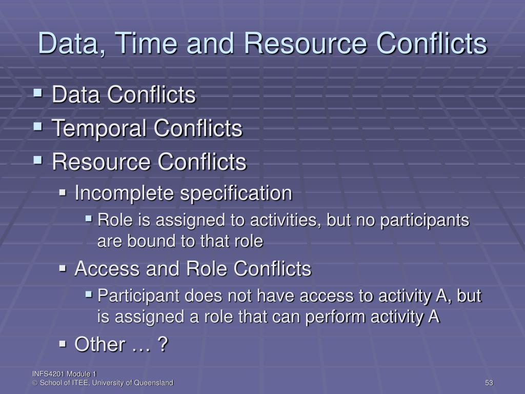 Data, Time and Resource Conflicts