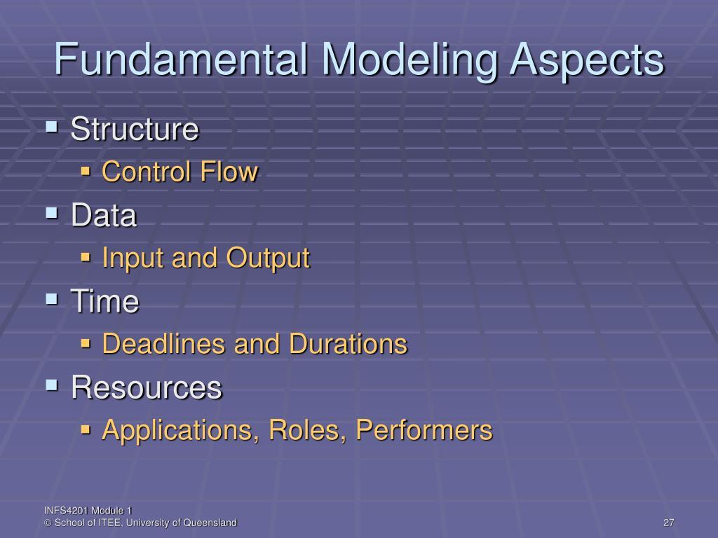 Fundamental Modeling Aspects