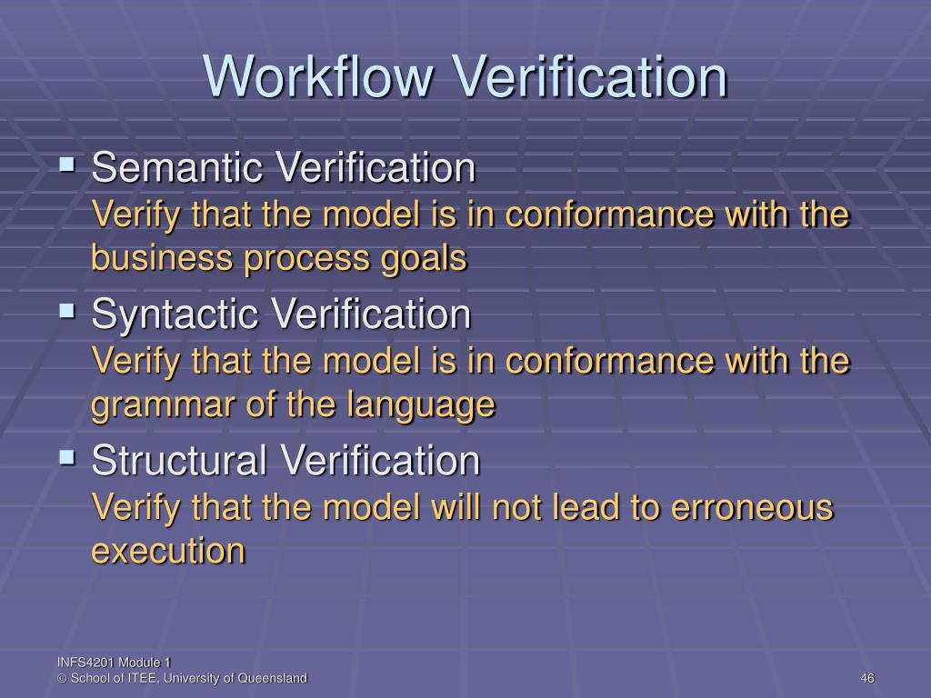Workflow Verification