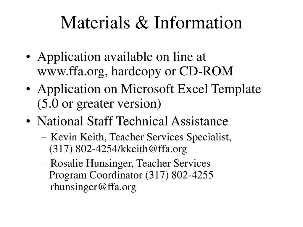 Materials & Information
