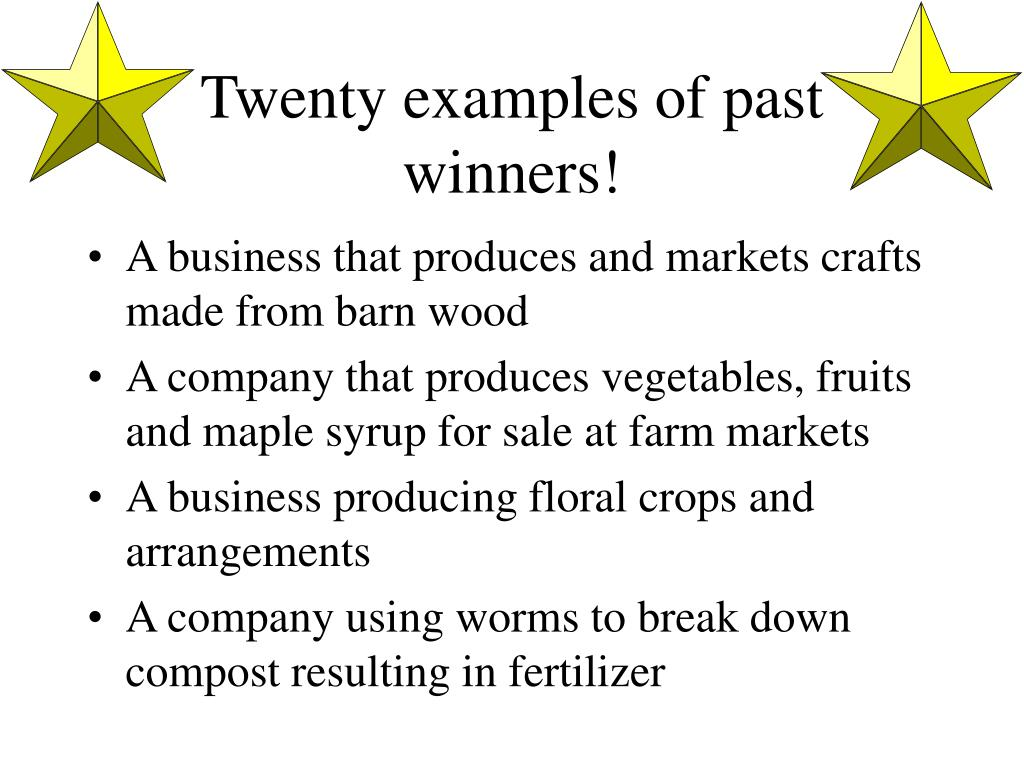 Twenty examples of past winners!