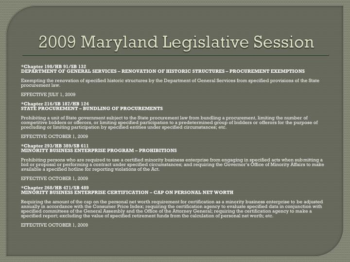 2009 maryland legislative session