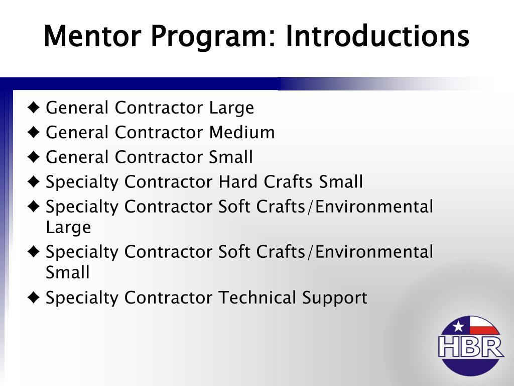 Mentor Program: Introductions