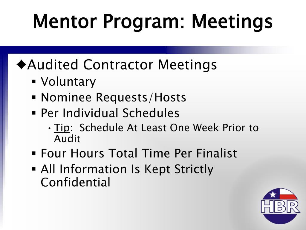 Mentor Program: Meetings