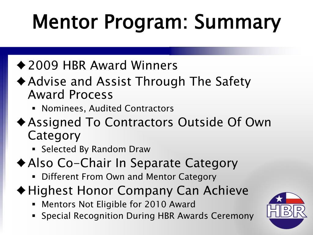 Mentor Program: Summary