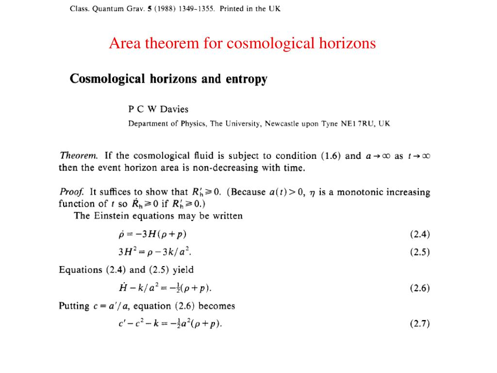 Area theorem for cosmological horizons