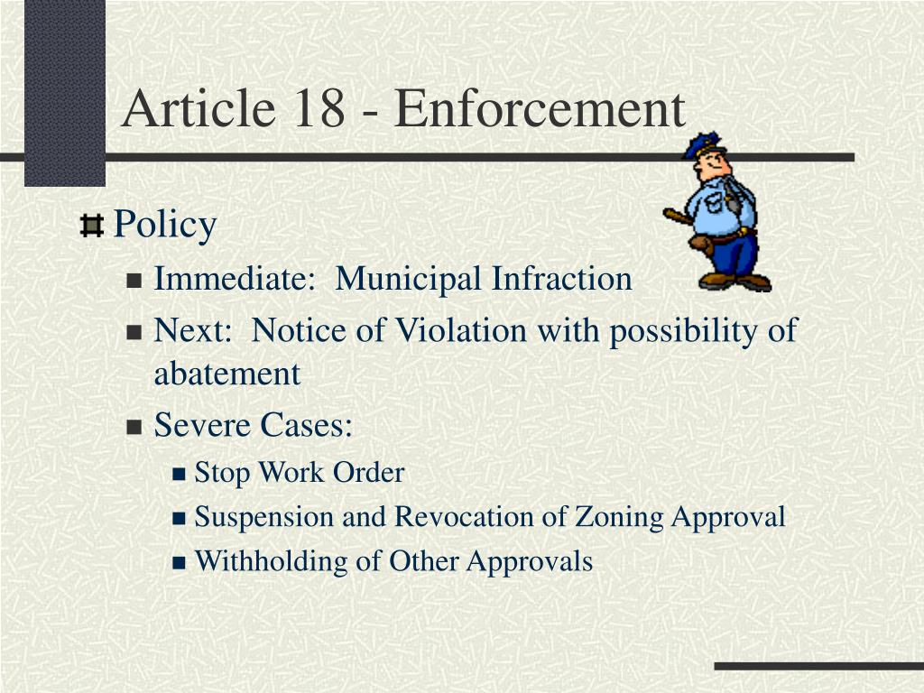 Article 18 - Enforcement