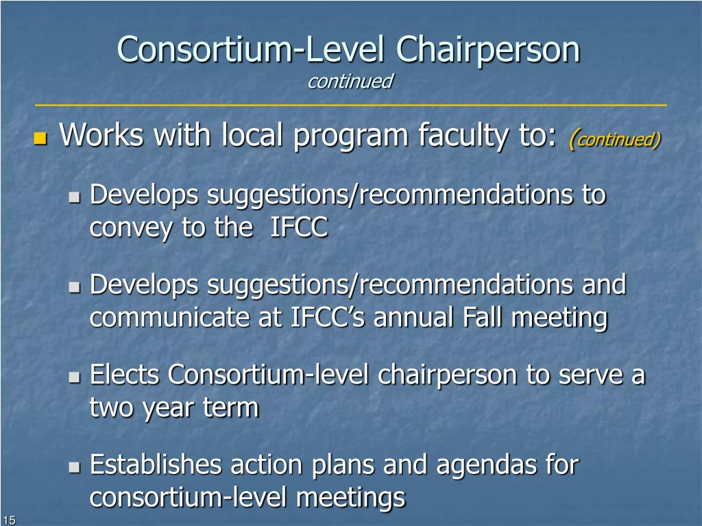 Consortium-Level Chairperson