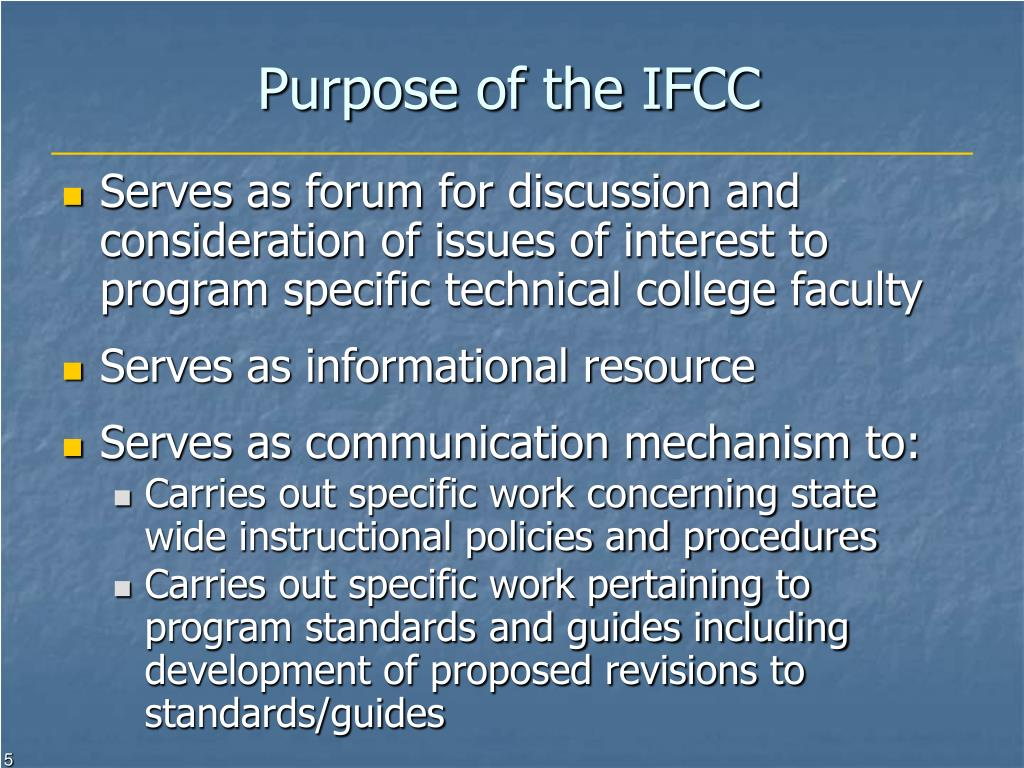 Purpose of the IFCC