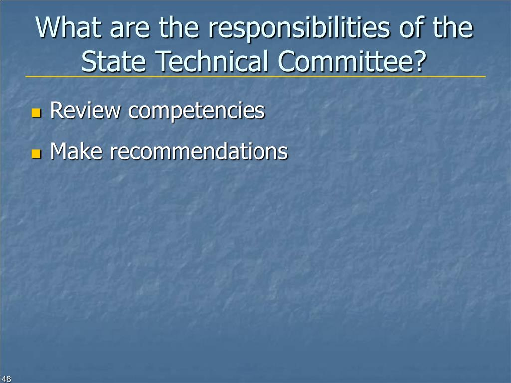 What are the responsibilities of the State Technical Committee?