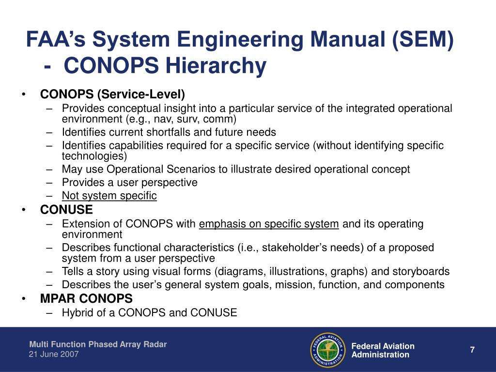 FAA's System Engineering Manual (SEM)