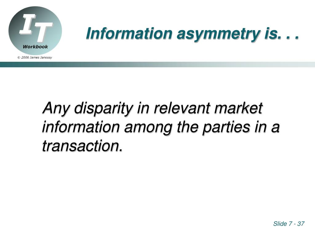Information asymmetry is. . .
