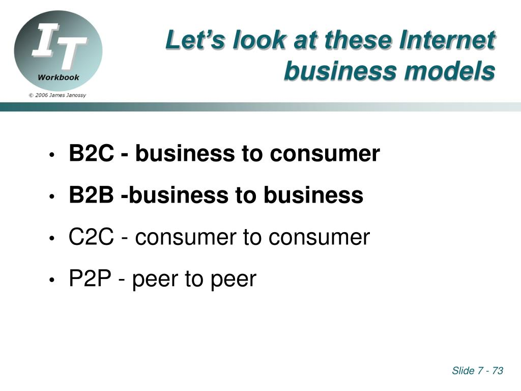 Let's look at these Internet business models
