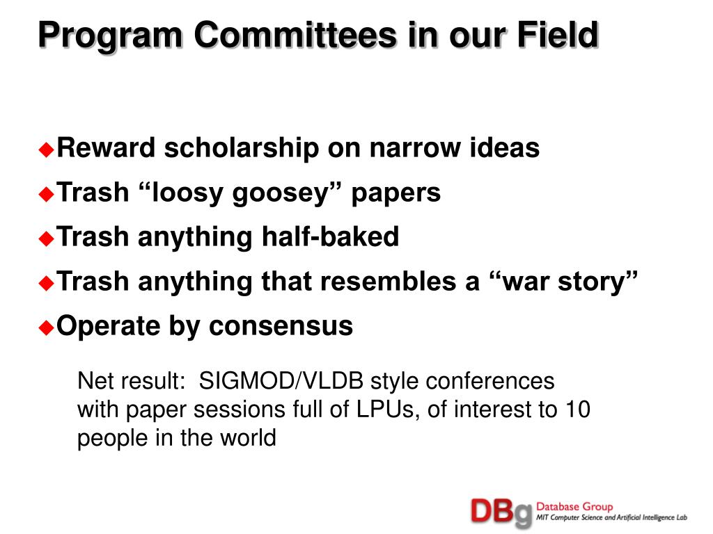Program Committees in our Field
