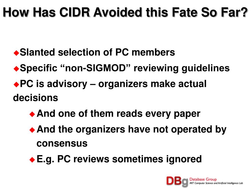 How Has CIDR Avoided this Fate So Far?