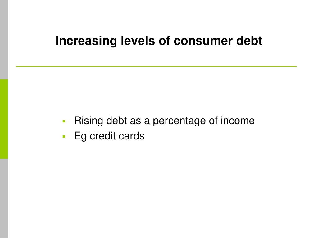 Increasing levels of consumer debt