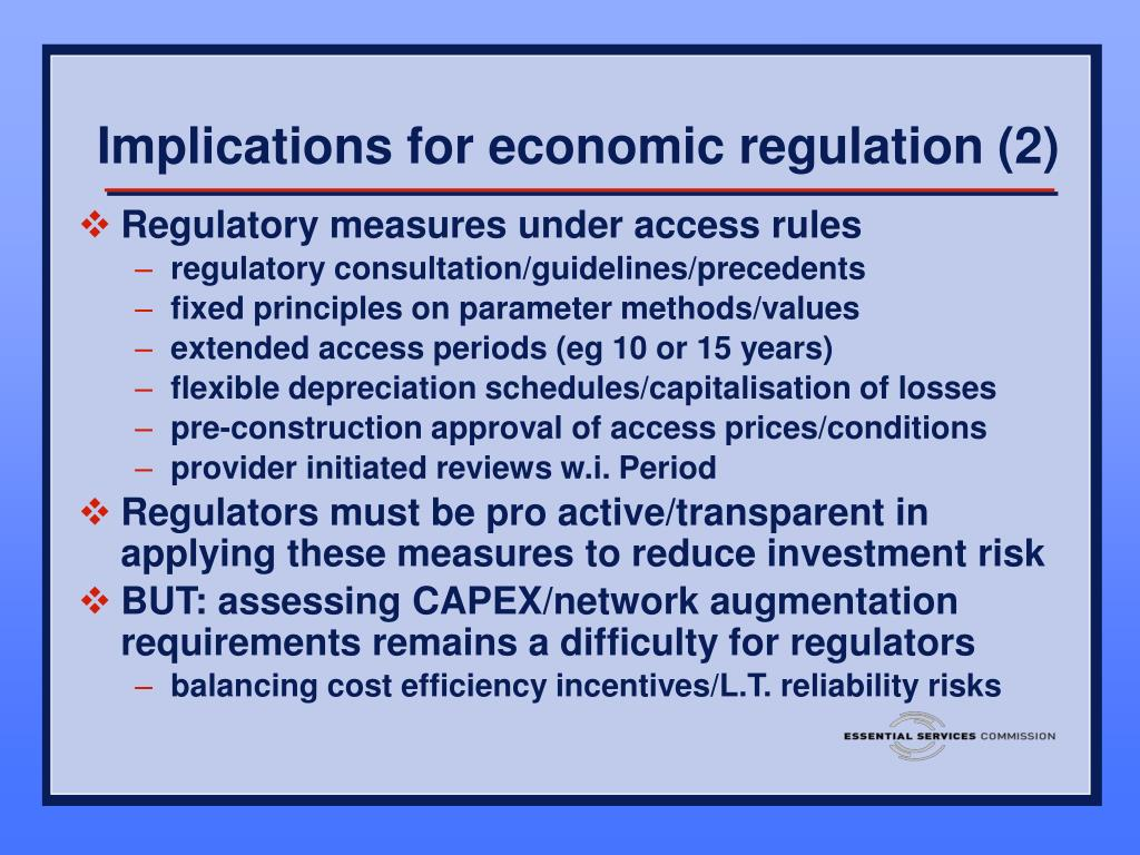 Implications for economic regulation (2)