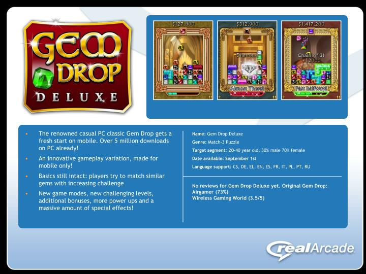 The renowned casual PC classic Gem Drop gets a fresh start on mobile. Over 5 million downloads on PC...