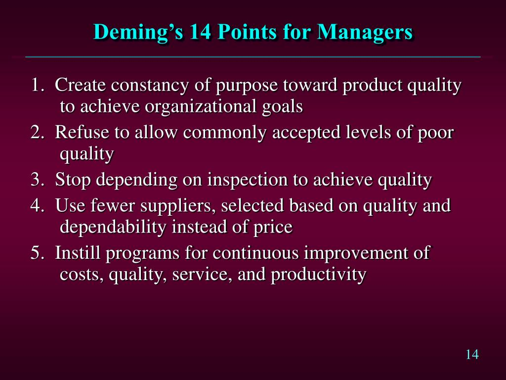 a summary of demings fourteen points for management