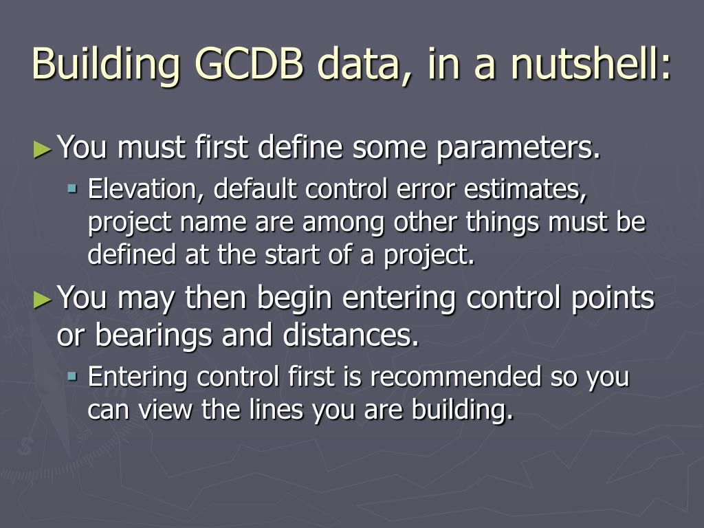 Building GCDB data, in a nutshell: