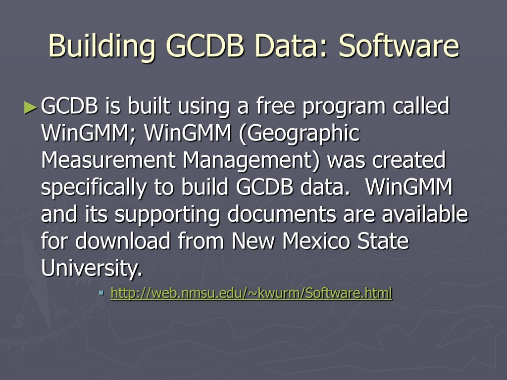 Building GCDB Data: Software