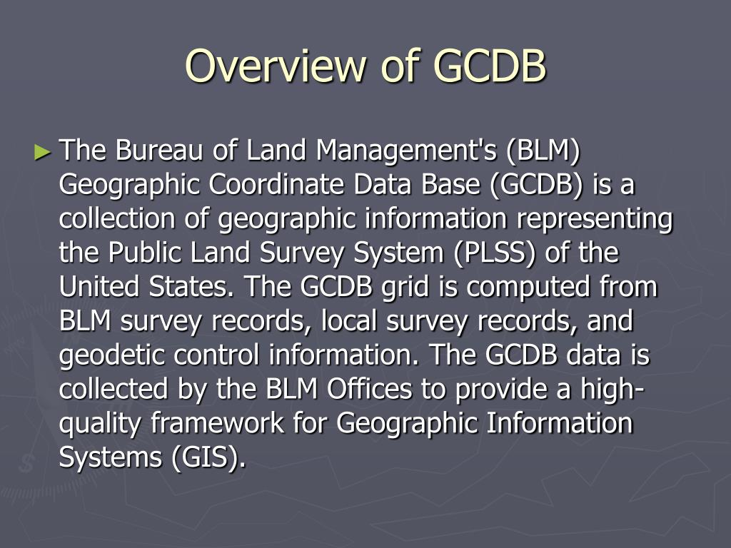 Overview of GCDB