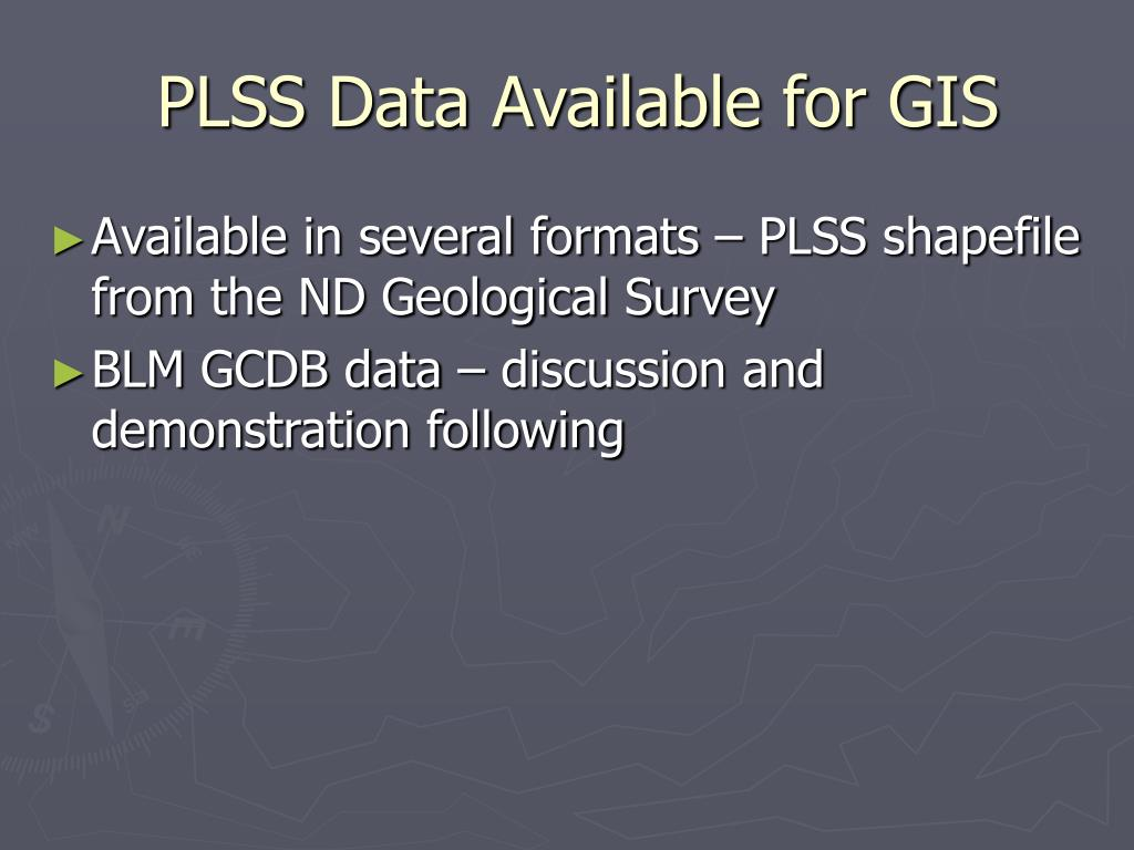PLSS Data Available for GIS