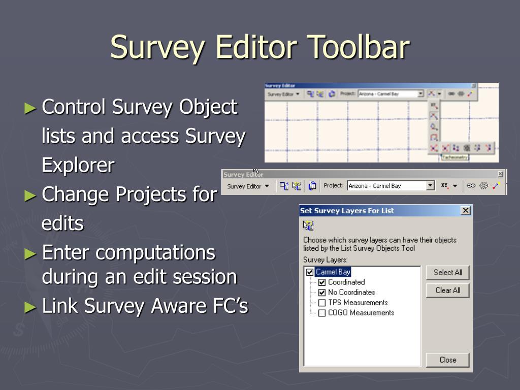 Survey Editor Toolbar