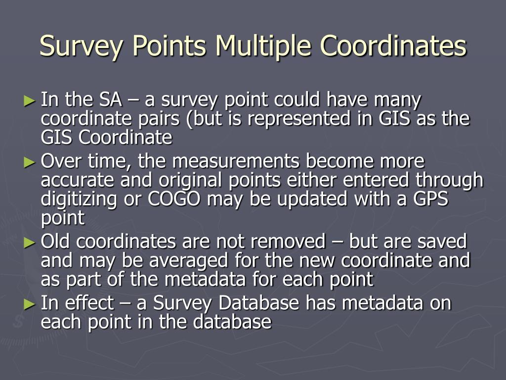 Survey Points Multiple Coordinates