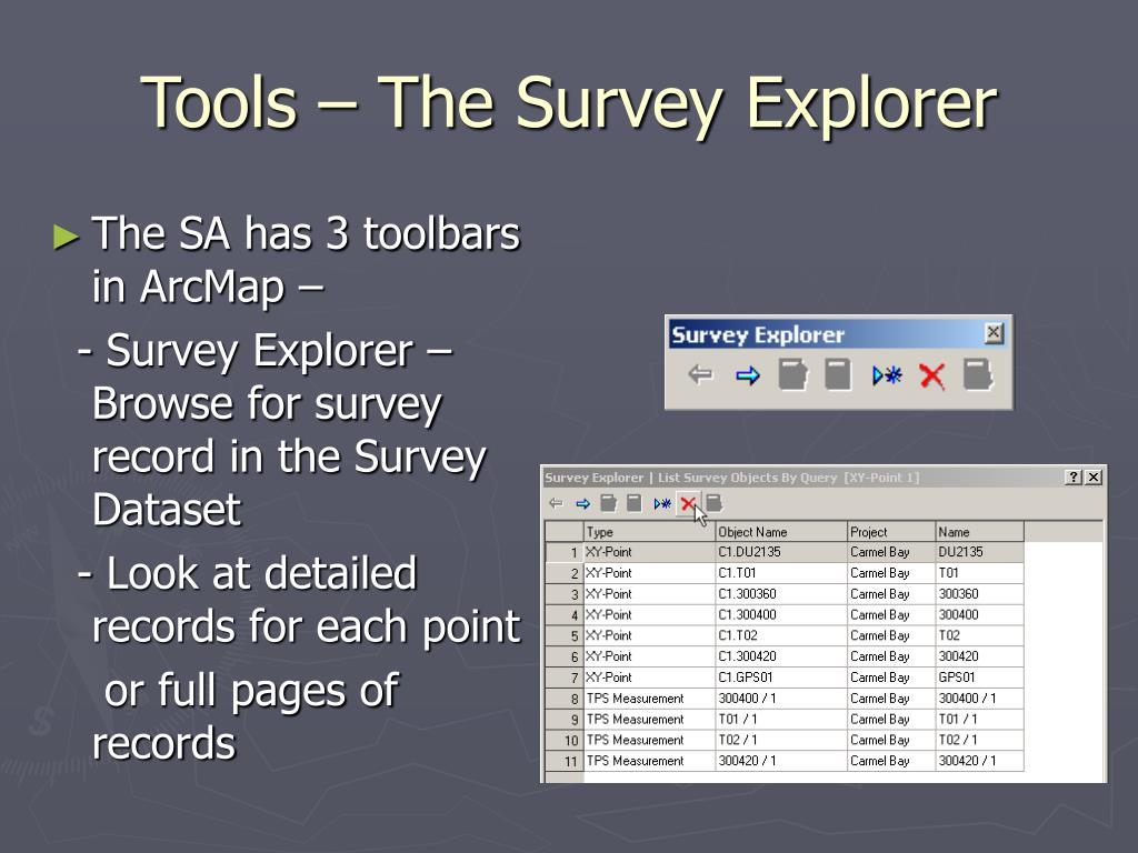 Tools – The Survey Explorer
