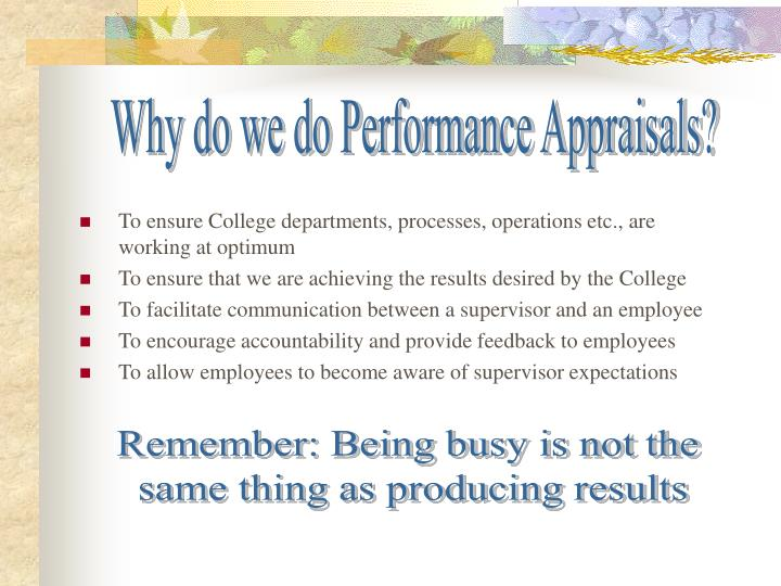 Why do we do Performance Appraisals?