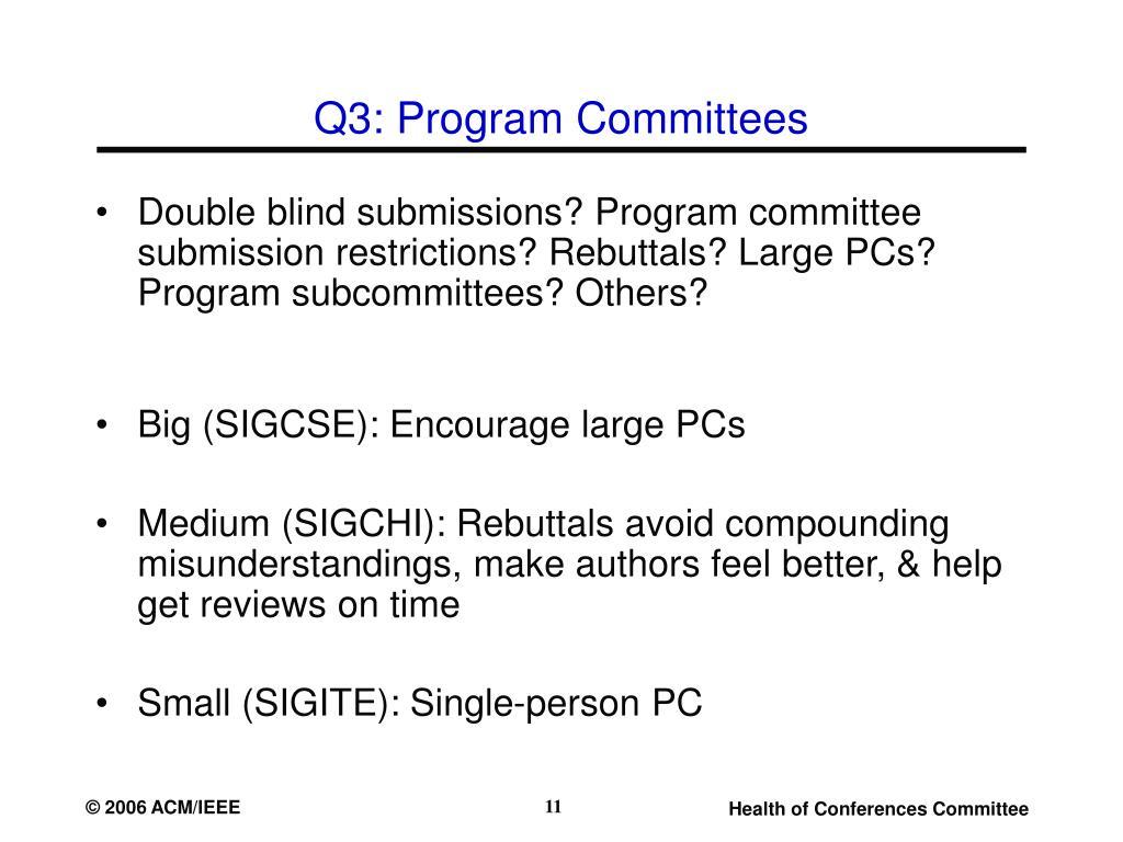 Q3: Program Committees