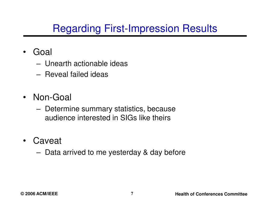Regarding First-Impression Results