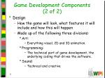 game development components 2 of 2