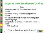 stages of game development 7 of 8