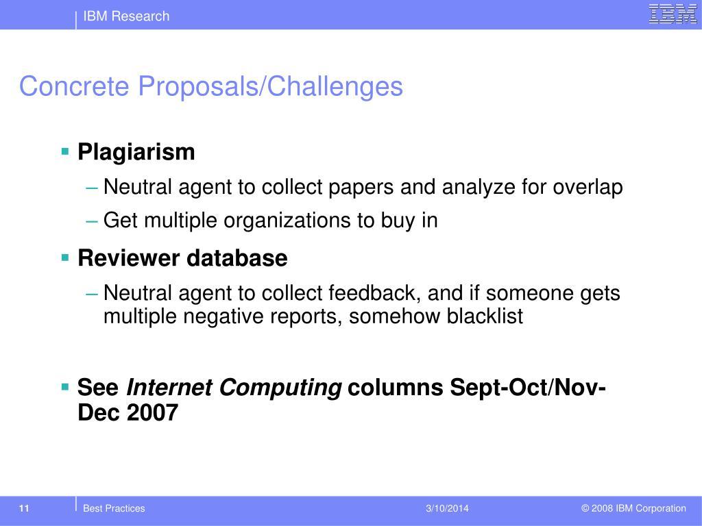 Concrete Proposals/Challenges