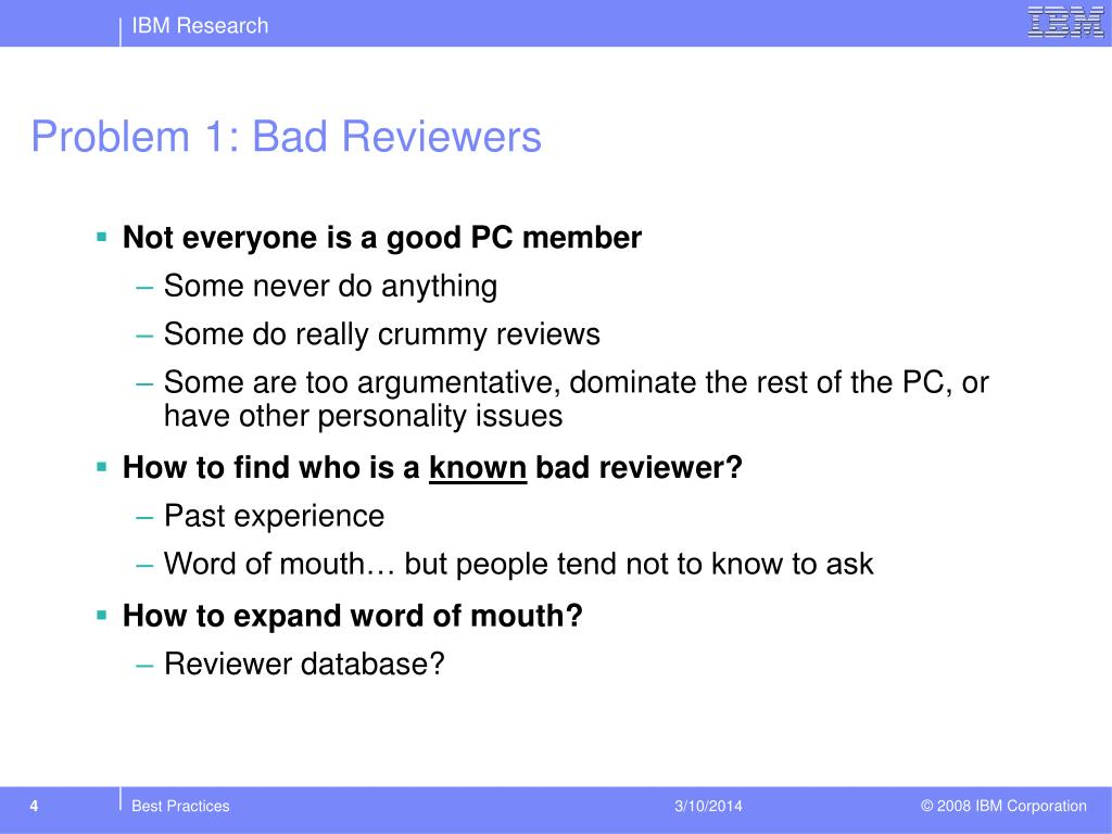 Problem 1: Bad Reviewers