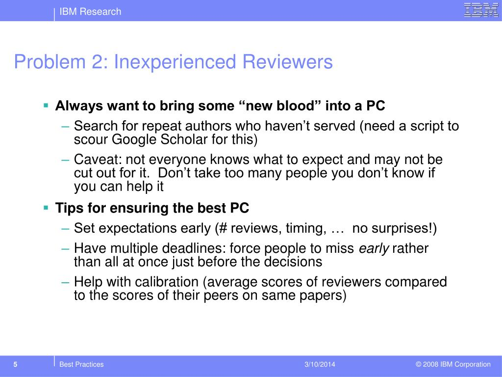 Problem 2: Inexperienced Reviewers