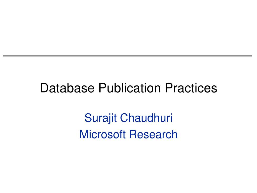 Database Publication Practices