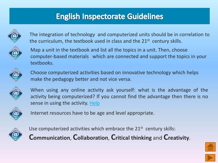 English inspectorate guidelines l.jpg